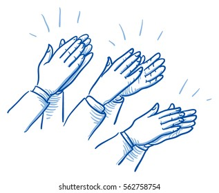 Set of different clapping hands, concept for agreement and success. Hand drawn line art cartoon vector illustration.