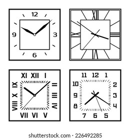 Set of different clock faces. Editable Clock, easily remove and replace hands and design.