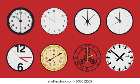 Set of different clock faces icons