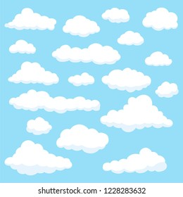 Set of different cloud on light blue sky flat design vector on Blue background.