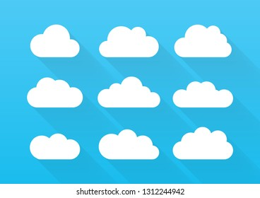 Set of different clouds. Vector sky cartoon illustration.
