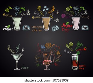 Set of different cocktails: mojito, mojito diablo, long island ice tea, martini, bloody mary and mulled wine. Alcohol cocktails.