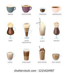 Set of different coffee types. Americano and cappuccino, espresso and mocha. Hot cup of drink for breakfast with milk. Vector illustration in cartoon style