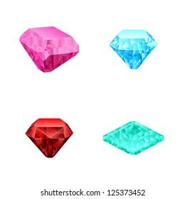 set of different color diamonds