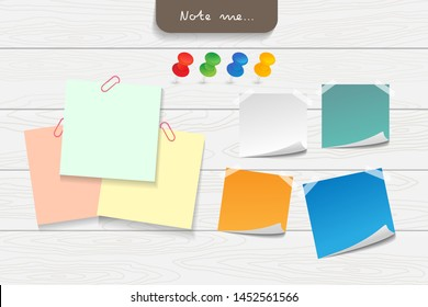 Set of different color note papers, pushpin, paper clip and elements. Creative office note paper Design in EPS10 vector illustration.