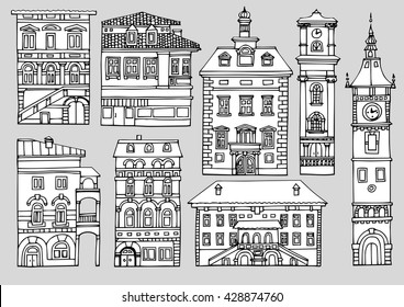 Set of different color and shape old houses. Facades of variegated buildings.Set of vintage facades.Sketch, hand drawn,cartoon style.Black and white line illustration, isolated on a white background