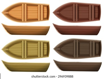 Set Of Different Color Wooden Boats Both Top View And Side