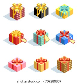 Set of different colored 3D giftboxes with ribbons isolated. Flat vector illustration. Collection of gift box package surprise with ribbon