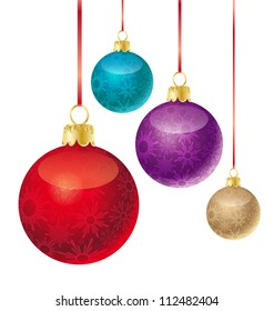 set of different colored Christmas balls