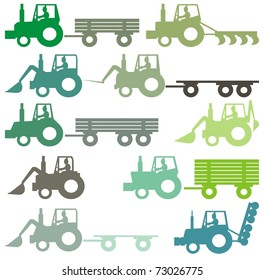 A set of different colored outlined agricultural tractors - vector cartoon illustration