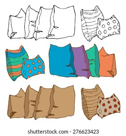 Set of different colored pillows for interior. Hand drawn vector illustration