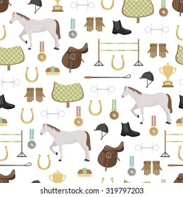 Set of different colorful equipment for horses. Equestrian objects. Isolated elements. Cute grey horse. Cute seamless pattern.
