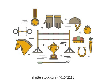 Set of different colorful equipment for horses. Equestrian objects. Isolated elements. Line icon design.