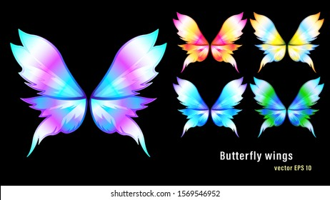 Set different colorful gradient flame butterfly wings isolated on a black background. Vector illustration stock.