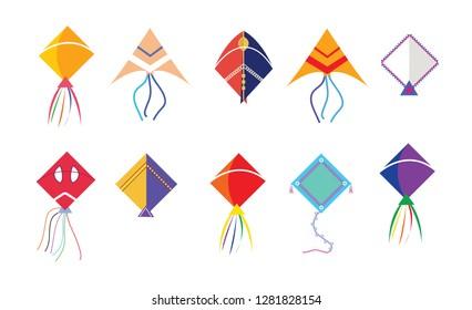Set of different colorful kites illustration on white background