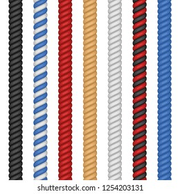 Set of different colorful ropes isolated on white background. Nautical twisted Rope twine in flat cartoon style. Vector illustration