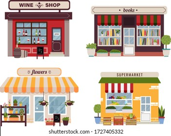 Set of different colorful shops, flowers, books, wine, grocery, supermarket. Infographic elements. Vector illustration. Storefront, facades