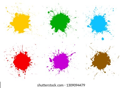 Set different colorful splash, brush strokes – stock vector