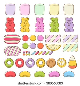 Set of different colorful sweets on white background - marshmallow gummy bears hard candies dragee jelly beans peppermint candy. Hand drawn sketch style vector illustration.