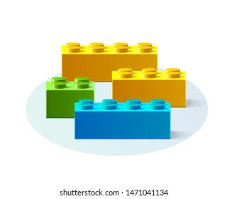 Set of different colors of constructor. Building block toy. Green, blue, yellow building blocks toys with shadow isolated on white background. Vector illustration 3d plastic parts of children's toy