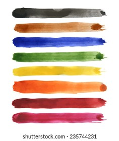 Set of different coloured strips of watercolor: scarlet, red, orange, yellow, green, blue, brown, black. Vector illustration.