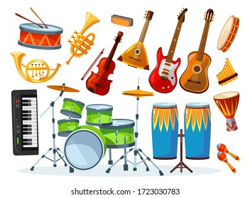 Set of different colourful musical instrument vector illustration. Equipment for talented musician flat style. Guitar piano drums. Music and hobby concept. Isolated on white background