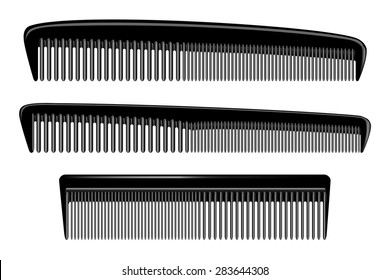Set of different combs, barber comb, salon, comb hair, black comb, isolated on white. Icon. Female things. Accessory, care for themselves. Vector illustration of plastic hair comb. EPS 10 Illustrator.