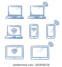 Set with different computer and mobile device as phone, tablet, laptop, with wi-fi icons.  Hand drawn line art cartoon vector illustration.