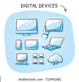 Set with different computer and mobile device icons as phone, tablet, laptop, server, desktop, cloud. Hand drawn sketch vector illustration, blue marker style coloring on single blue tiles.