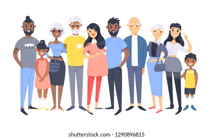 Set of different couples and families. Cartoon style people of different races, nationalities (african american and asian), ages (young and elderly), with baby, boy, girl, pregnant woman