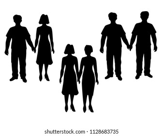 Set of different couples and families.  Traditional and Unconventional Couple