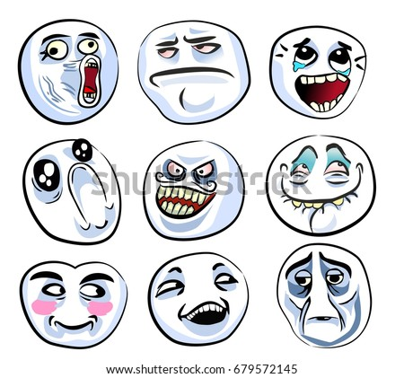 Set Of The Different Crazy Faces Internet Memes For Your Design Of Avatars Internet