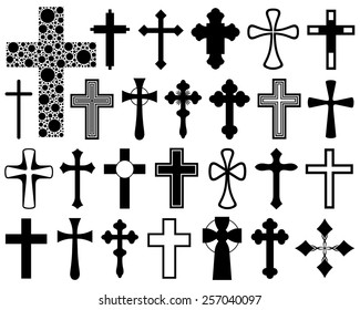 Set of different crosses isolated on white