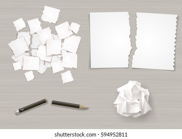 Set of different crumpled and torn sheets of paper. Broken pencil. Vector graphics.
