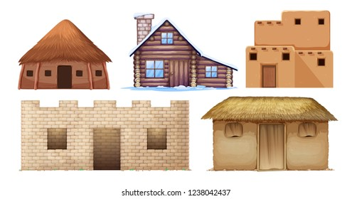 Set of different culture houses illustration