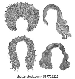 set  different curly hairs .  fashion beauty african style . fringe  pencil drawing sketch .