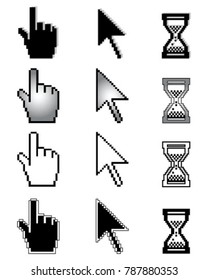 Set of different cursors on a white background
