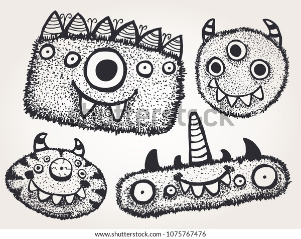 Set Different Cute Fluffy Monsters Stock Vector Royalty Free 1075767476