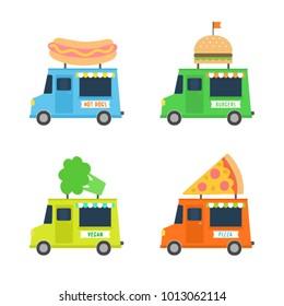 Set of different cute food trucks. Hot dogs, burgers, pizzas, vegan. Vector illustration
