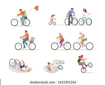 Set of different cyclist. Old people, children, adult on bicycle and cycle incident. Flat Art Vector illustration