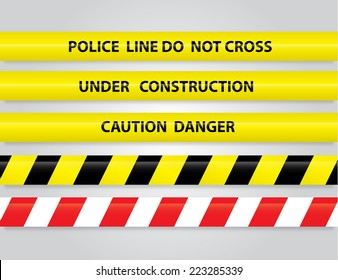 Set of different danger tapes. Tapes with text Under construction, Caution Danger, Police line do not cross