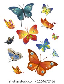 Set of different decorative butterflies on white background. Vector objects.