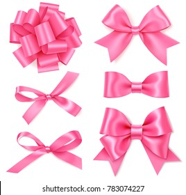 Set of different decorative pink bows for gift decor. Mother's Day holiday decorations. Vector rose bow isolated on white background
