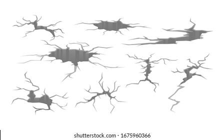 Set of different deep crack on surface monochrome cartoon vector illustration