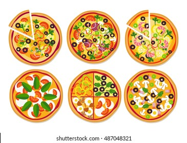 Set of different  delicious pizzas isolated on white. Vector