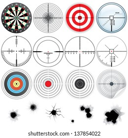Set of Different Detailed Cross hairs and Targets. Vector Icon