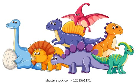 Set of different dinosaur character illustration