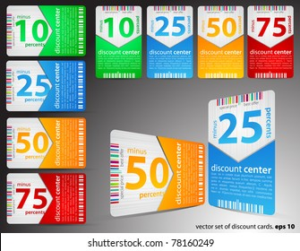 Set of different discount cards