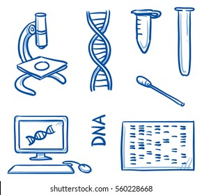 Set of different DNA testing icons, for medical info graphics. Hand drawn line art cartoon vector illustration.