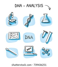 Set of different DNA testing and laboratory icons, for medical info graphics on blue tiles. Hand drawn cartoon sketch vector illustration, marker style coloring.